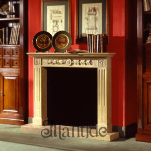 Empire style marble fireplace Biancone - Ref. 008